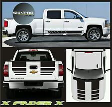 New 2014-2016 Chevy Silverado Hood Tail Rally Stripe Decals Graphics X Fader X