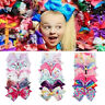 6pcs Rainbow Printed Knot Ribbon Bow Hair Chip For Baby Kids Girls Xmas Headwear