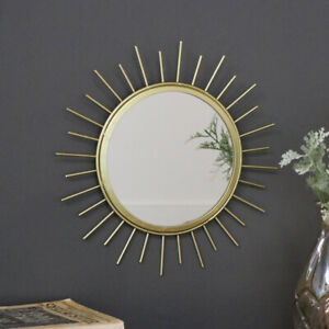 Pretty gold metal sunburst wall mirror decorative luxe boho chic girl home decor