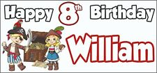Pirate 8th Birthday Banner x 2 - Party Decorations - Personalised ANY NAME