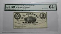 $.10 1862 Vischers Ferry New York NY Obsolete Currency Bank Note Bill! UNC64 PMG