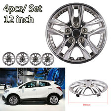 4Pcs 12 Inch Hub Caps Hubcap Wheel Cover Car Chrome Wheel Rim Skin Cover Sliver