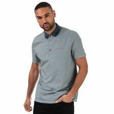 Para Hombres Ted Baker Holein Stripe Ligero Manga Corta Camisa de Polo en Azul
