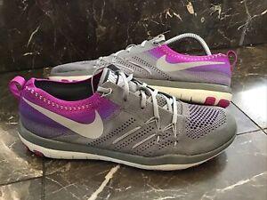 Nike Free Focus Flyknit 844817-003 Women's Sz 10 Training Shoes Gray & Purple