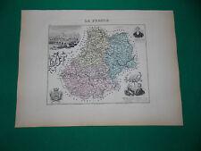 LOT CARTE ATLAS MIGEON Edition 1885, Carte + fiche descriptive