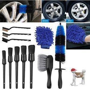 11Pcs Wheel & Tire Brush Car Detailing Kit Wash Mitt for Cleans Dirty Tires