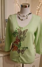 BLUE ILLUSION S MED CARDI NO TAG FINE COTTON BUTTERFLY SEQUIN GREEN FAB