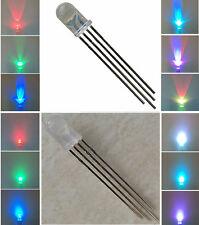 50 LED DIODI ANODO/CATODO COMUNE 4 pin 5MM RGB MULTICOLORE LUMINOSITA 15000 MCD