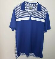 IZOD Mens Golf Polo Shirt Blue/White Striped  Size Large Short Sleeve