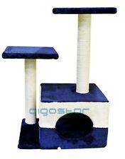 Tiragraffi per gatti robusto a due piani con casetta rifugio altezza 70 cm.