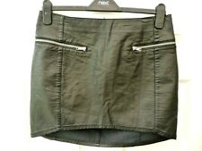 H&M Ladies Size 10 12 Black Casual Zip Detail Dip Hem Faux Leather Mini Skirt