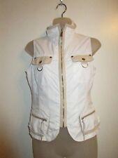 bebe Sport S Sleeveless Vest Jacket Full Zip Silver Beige Leather Trims Gym Yoga