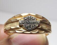 Women's Harley Davidson 10K Black Hills Gold Bar & Shield Stamper Ring Size 6