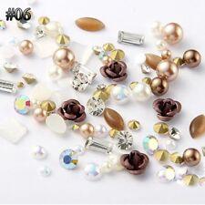 Decoration Crystal Jewelry 3d Flowers Nail Art Rhinestones Alloy Rose Mix Gems 06