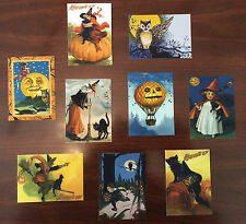 Halloween Art Cards Witch Black Cat Pumpkin Full Moon Owl Set of NINE ACEOs
