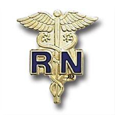 Blue RN Emblem Pin Registered Nurse Gold Plated Medical Collar Caduceus New 801C