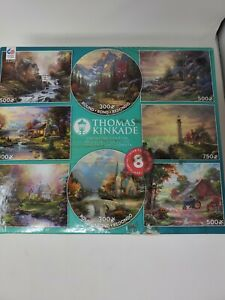 Ceaco- Thomas Kinkade 8 in 1 Multipack Jigsaw Puzzle Bundle Set Kids to Adults