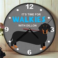 Personalised Dachshund Black & Tan Dog Kitchen Walkies Hanging Wall Clock Gift