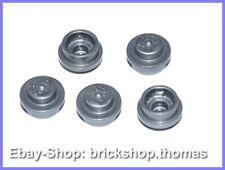 Lego 5 x Platte rund silber (1 x 1) - 4073 - Plate Round Flat Silver - NEU / NEW
