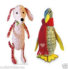 2 X SEWING PATTERNS Dainty Dachshund Dog & Piccolo Penguin Soft Toy Easy Instr.