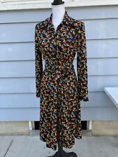 Vintage 1970s Mod Novelty Print Polyester Dress boho hippie Medium