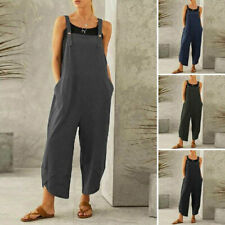 Women Pure color Casual Cotton Playsuits Jumpsuit Overall Baggy Romper Pockets
