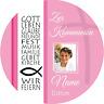 Tortenaufleger Kommunion2 rosa mit Wunschtext und Foto 20 cm Ø essbar
