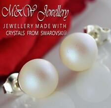 925 Silver Stud Earrings Crystals From Swarovski® PEARL Pearlescent White 8mm