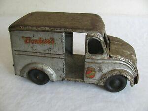 Vintage 1930s Kingsbury Toys Press Steel Windup Divco Bordens Milk Truck Works!