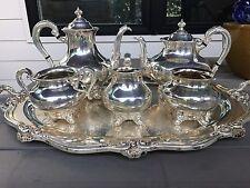 REED & BARTON 5600 REGENT 6 PIECE SILVER PLATE TEA SET PLUS TRAY