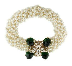 Kenneth Jay LANE KJL Necklace Pearl Green Gripoix Crystals MultiRows Vintage