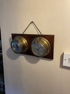 Vintage Weathermaster Boat / Ships Quartz Clock and Barometer