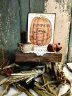 PRIMITIVE VINTAGE FOLK ART STYLE FALL HALLOWEEN PUMPKIN PICK FARM  SIGN CANVAS