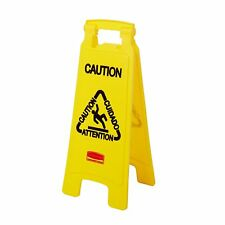 """New listing Rubbemaid 6112 """"Caution"""" Multilingual 2-Sided Floor Sign, Yellow (Rcp 6112 Yel)"""