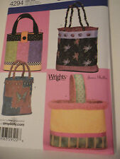 Simplicity pattern 4294 purse bag tote Four styles New uncut pattern