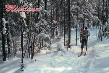 Cross-Country Skiing in Michigan, Snow Forest Path, Ski, Sports MI --- Postcard