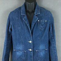 Levi's Women's Blue Jean Blazer Jacket Size Large Stretch Denim Casual Coat
