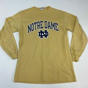 Champion Notre Dame T Shirt Men's Medium Long Sleeve Yellow Crew Neck Cotton