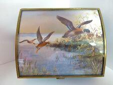 Via Vermont curved top glass & brass trinket box, F. Osborne, Mallards in flight
