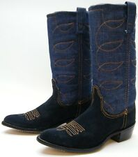 WOMENS VINTAGE ACME BLUE SUEDE DENIM LEATHER COWBOY WESTERN BOOTS SZ 6.5~1/2 N
