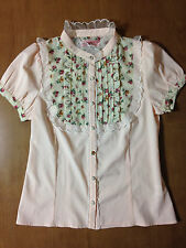 Ank Rouge Pink Blouse Lace Collar Lovely Petit Floral Bib