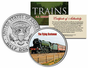 THE FLYING SCOTSMAN * Famous Trains * JFK Half Dollar Colorized U.S. Coin