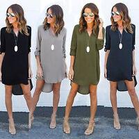 Womens V Neck Chiffon Blouse Long Sleeve T-Shirt Casual Summer Loose Mini Dress
