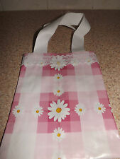 Daisy pink check floral oil cloth bag.girls tote bag /peg bag bnwt