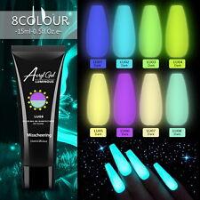 8 Colors Glow In Dark Gel 15ml Poly Nail Art Gel Luminous Nail Extension UV Gel