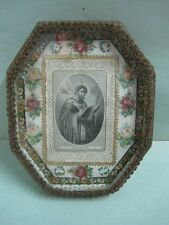 Antique wall Religious prayer reliquary Saint Augustine in cardbox and glass