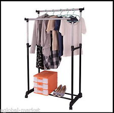 Double Clothes Rail Rack Wardrobe Stand Storage Dress Shirt Portable Adjustable
