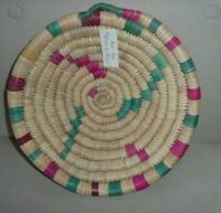 Woven Coil Hanging Basket Hand Made in Morocco NEW Pink & Teal