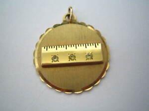 10k GOLD FILLED Yellow Gold Pendant ~ Small Ruler ~ 7.2 grams ~ Award? ~ Peridot