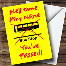 Bus Stop Personalised Passed Driving Test Greetings Card